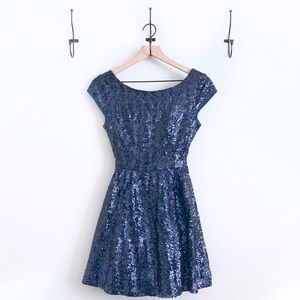 Midnight Blue Cocktail Dress with Sequins